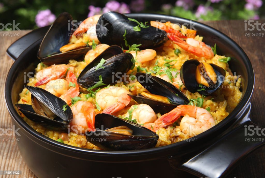 Paella with seafood stock photo
