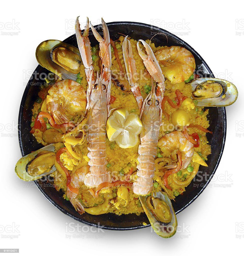 Paella with seafood royalty-free stock photo