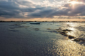 Paesaggio Camargue al tramonto con barca