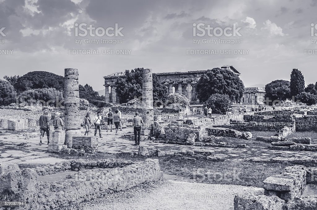 Paestum archaeological  site. Italy stock photo