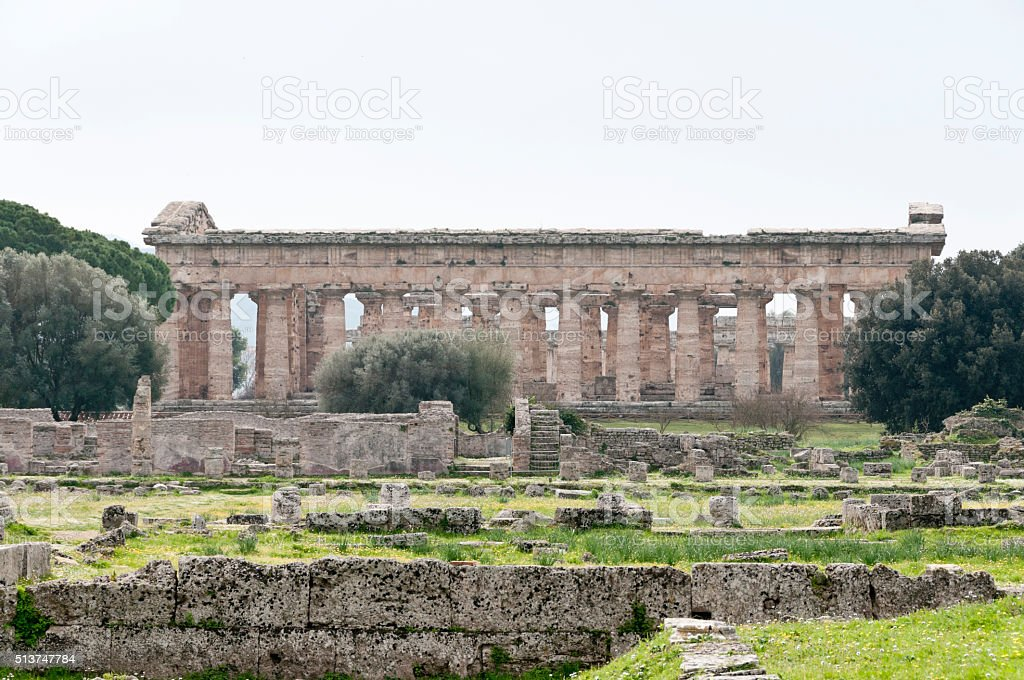Paestum: Greek temple stock photo