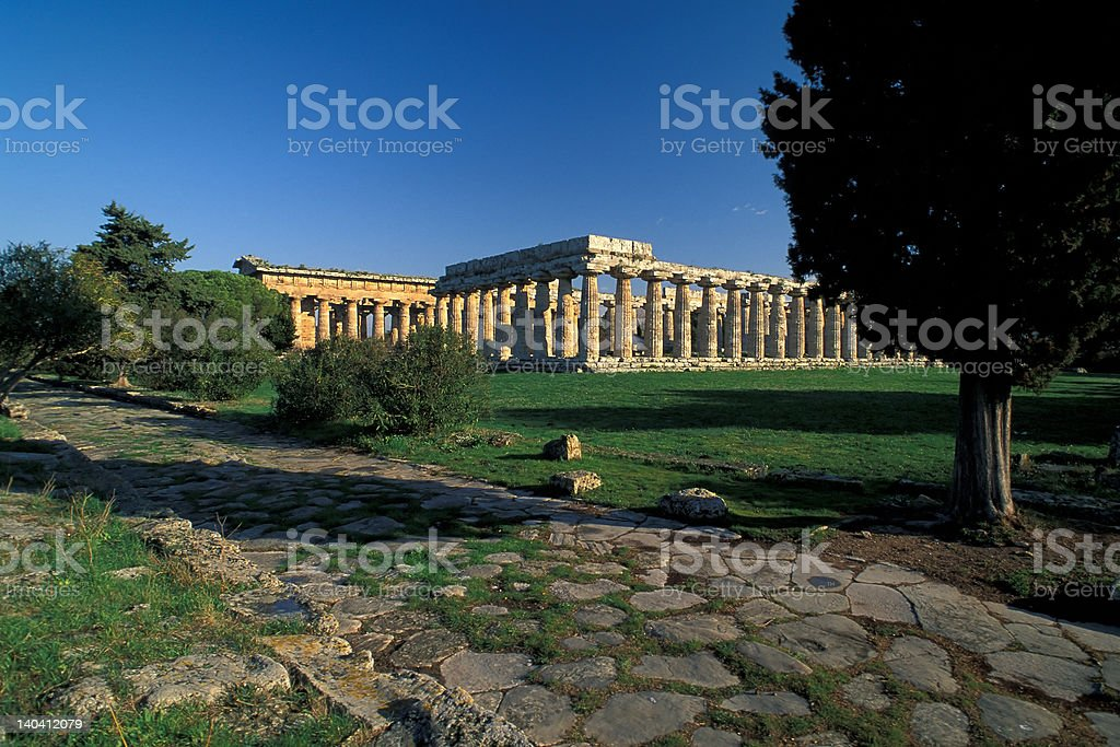 Paestum road and temple royalty-free stock photo
