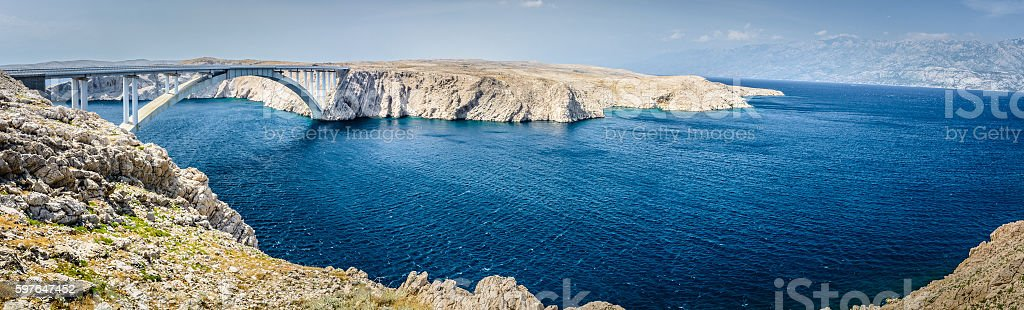 Pag bridge panorama. stock photo