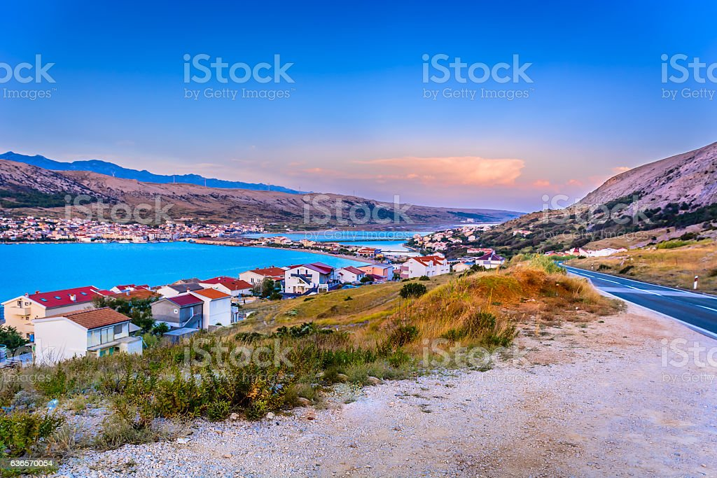 Pag island aerial landscape, stock photo
