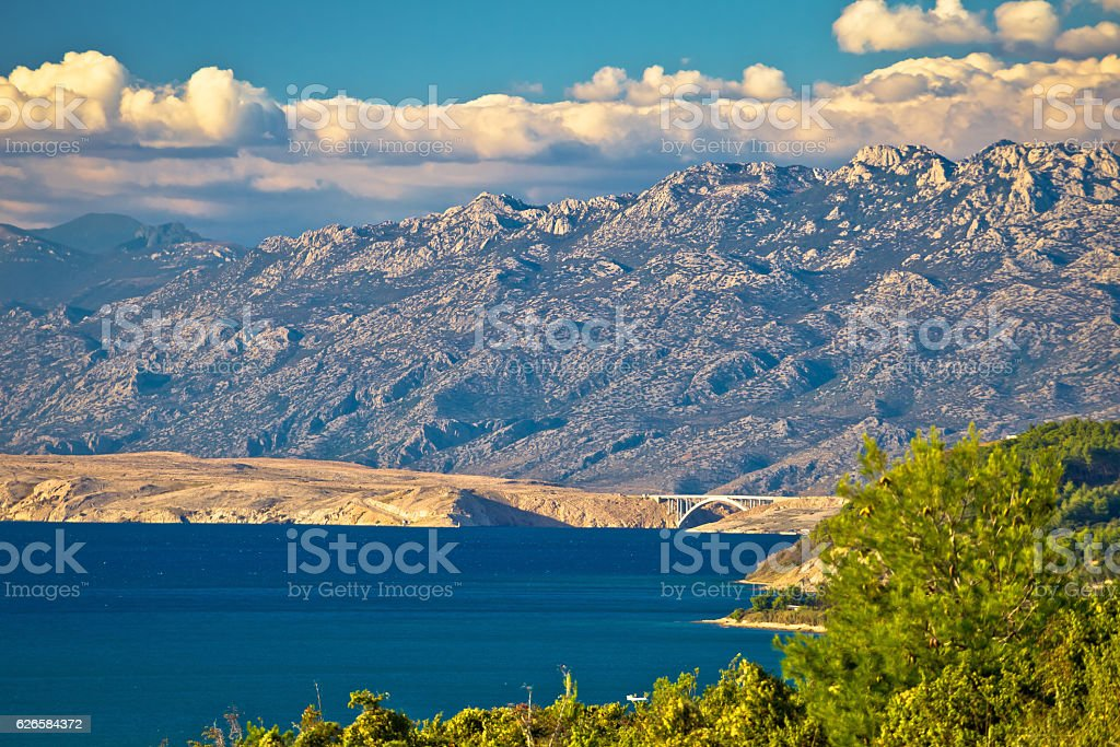 Pag island bridge and velebit mountain view stock photo
