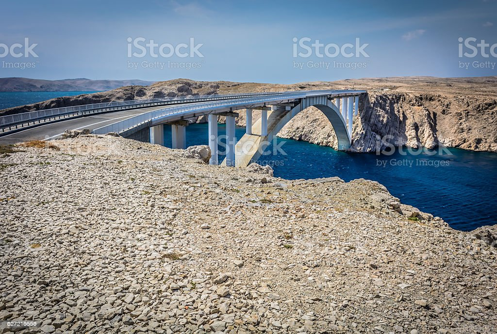 Pag island bridge landmark. stock photo