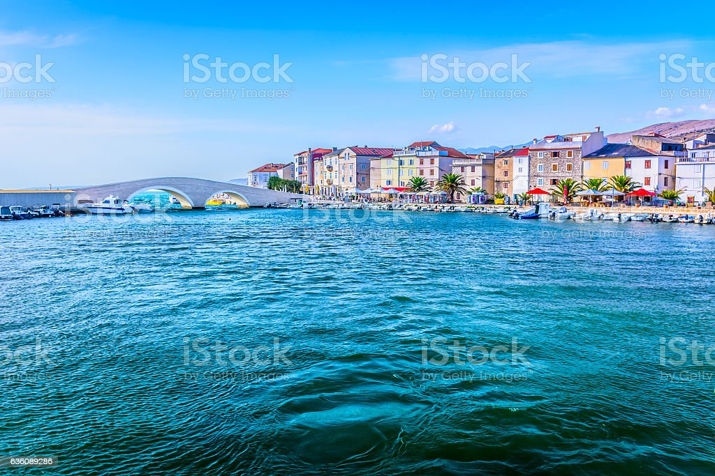 Pag island scenic seafront. stock photo