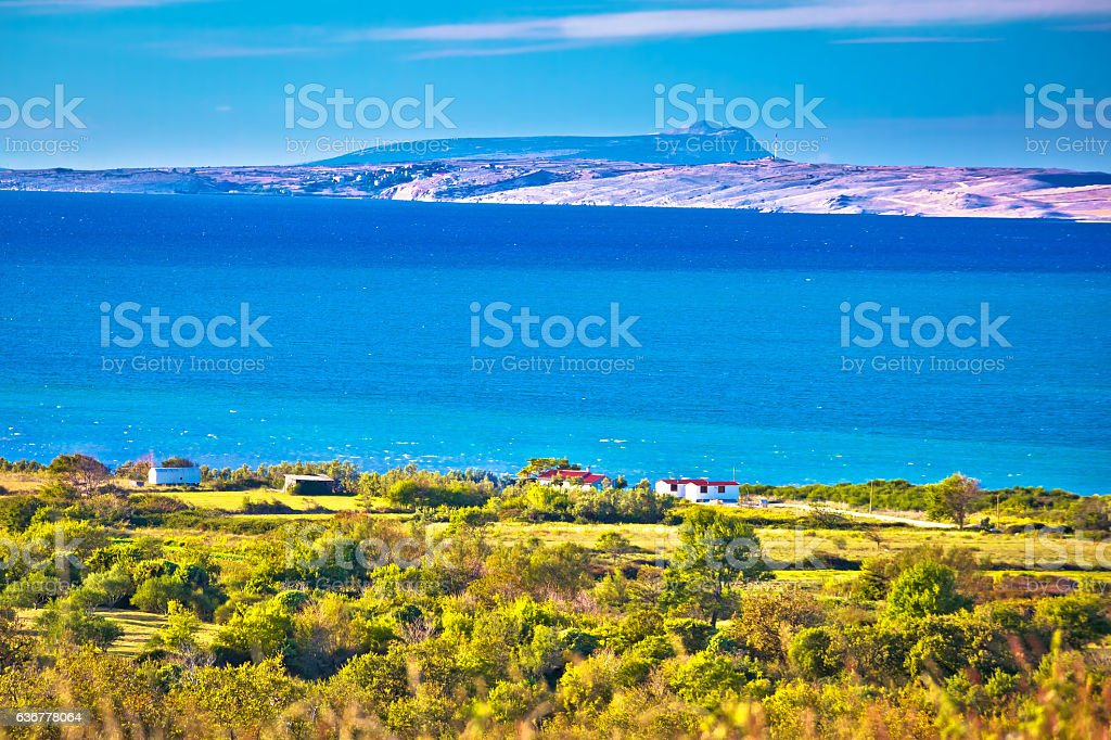 Pag island turquoise sea view stock photo