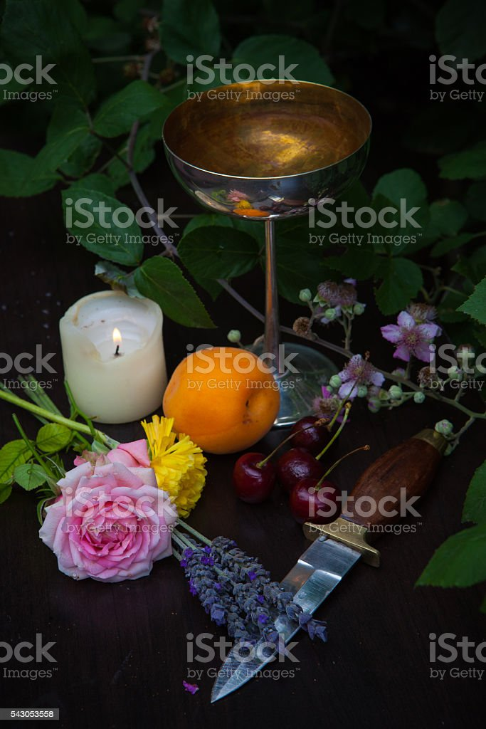 Pagan Altar for Summer stock photo