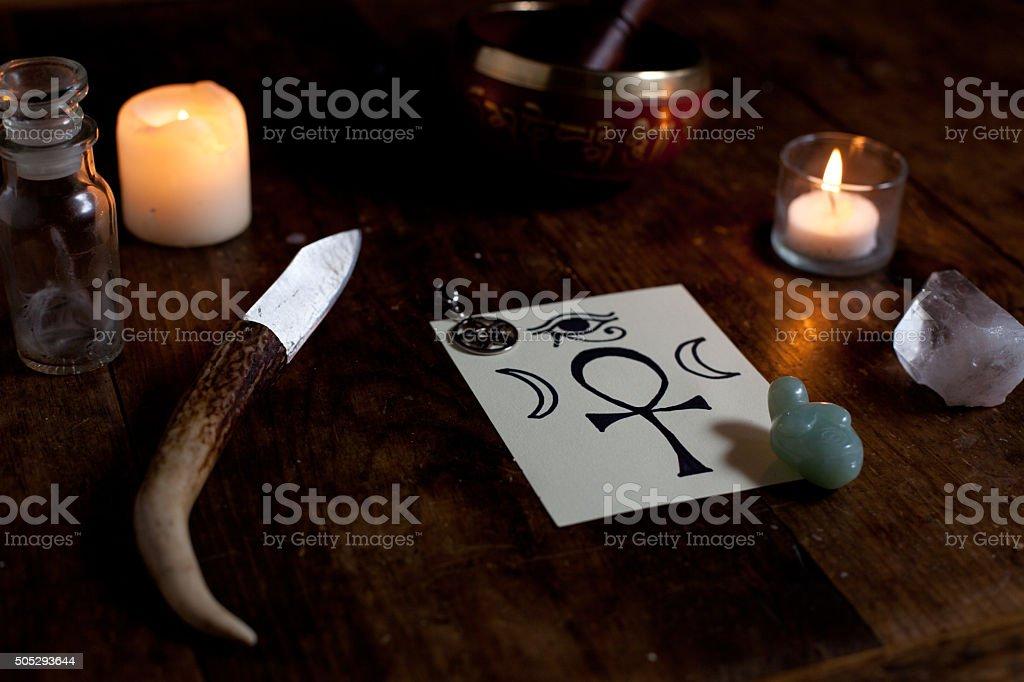 Pagan Altar stock photo