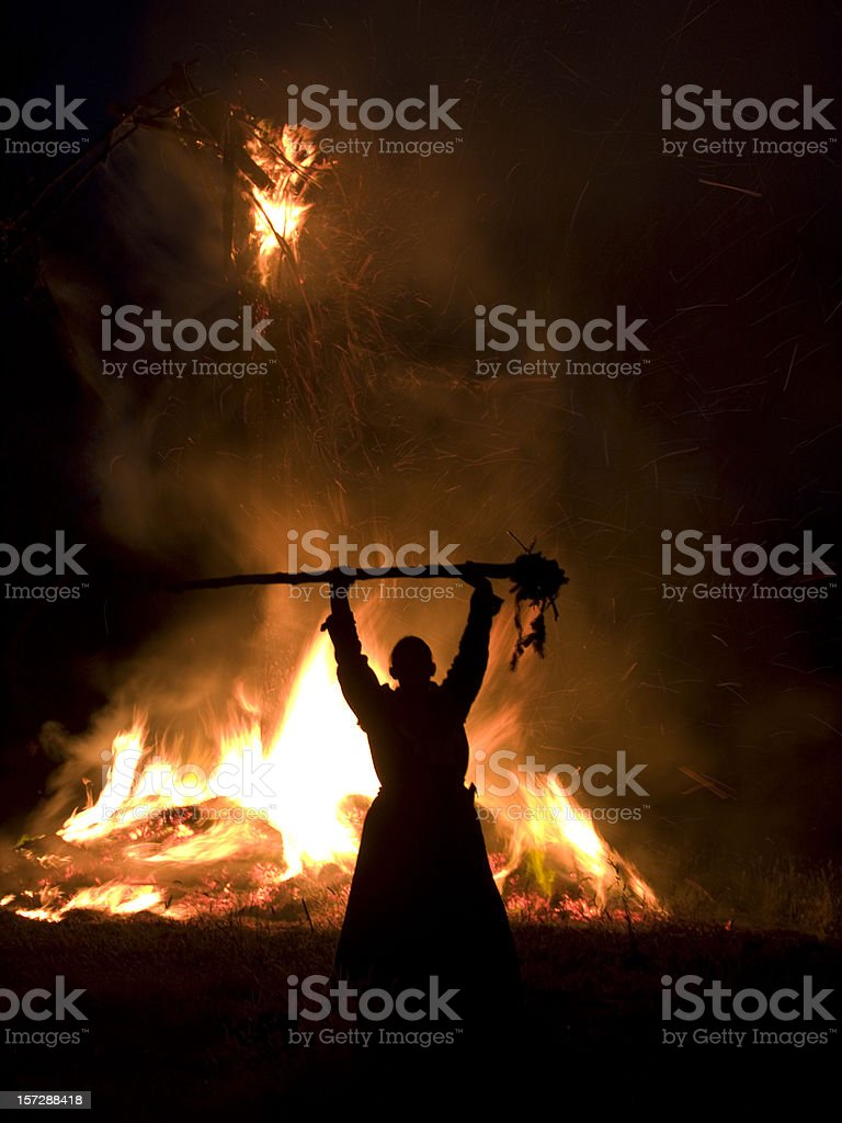 Pagan Blessing at a Wickerman Festival stock photo