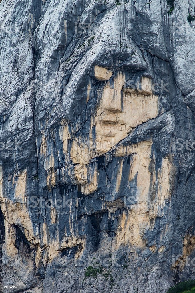 Pagan Girl rock formation closeup in Slovenia stock photo