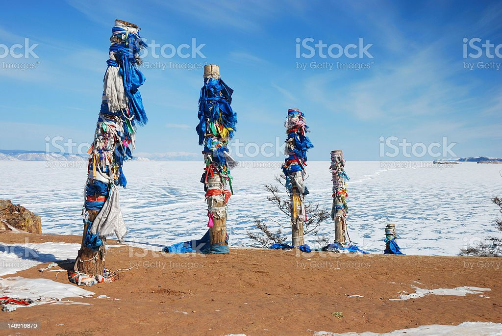 Pagan holy place in the Baikal Lake royalty-free stock photo