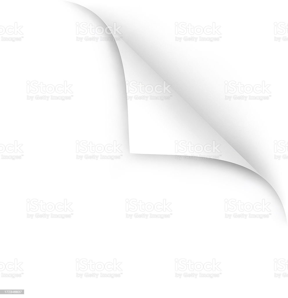 RASTER IMAGE: Page Curl - Corner Peel with Clipping Paths stock photo