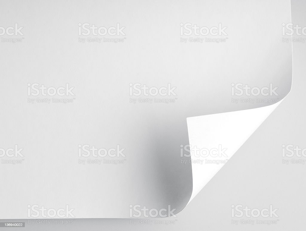 Page Curl - Transparent Corner Peel with Clipping Paths stock photo