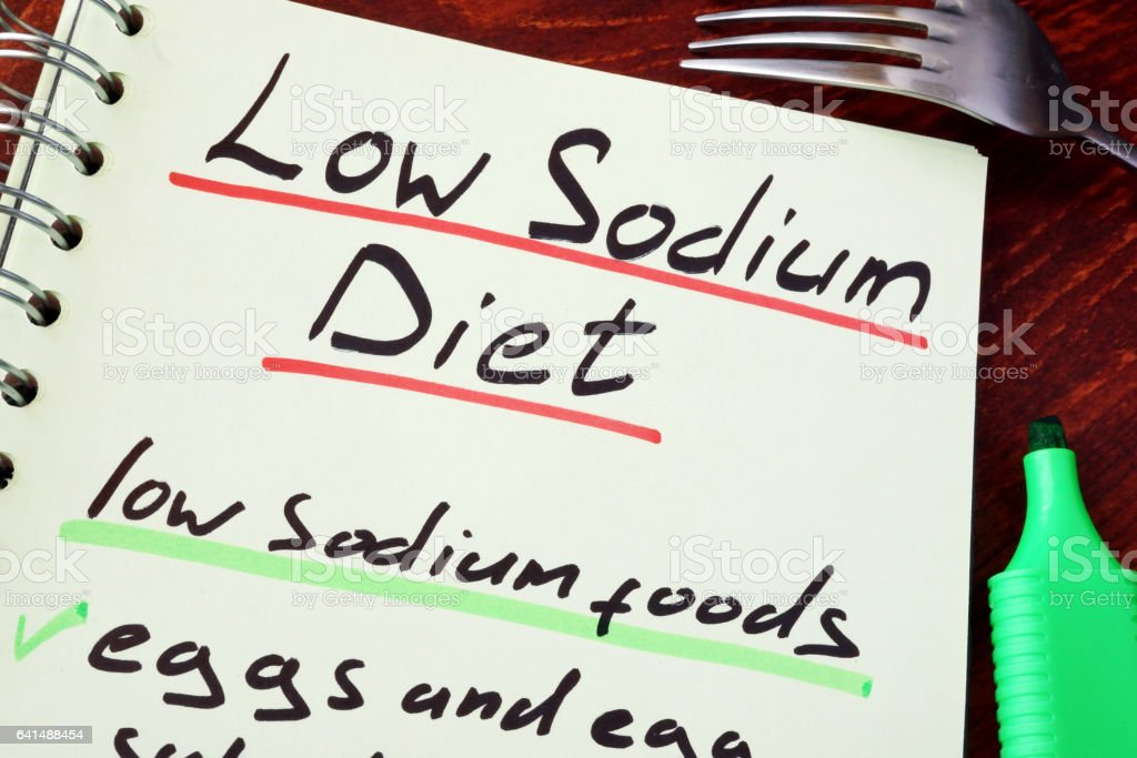 Page of a note with title Low sodium diet. stock photo