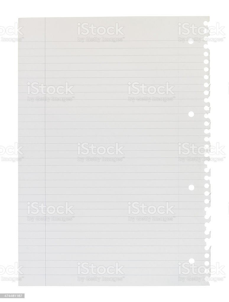 A4 page of notepad stock photo