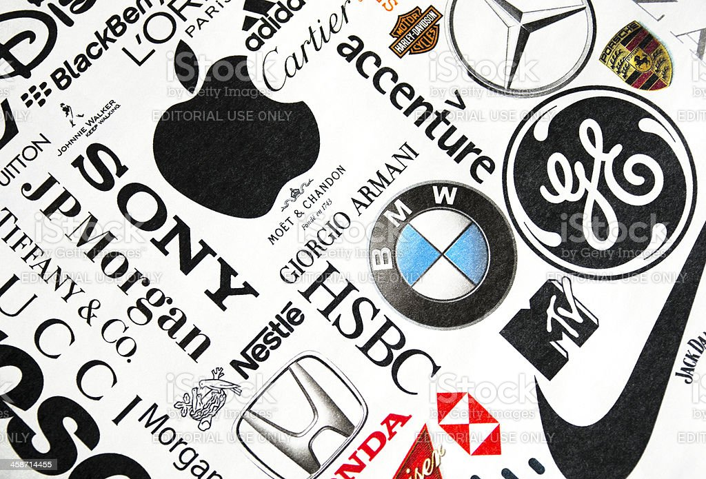 Page of printed brand names stock photo