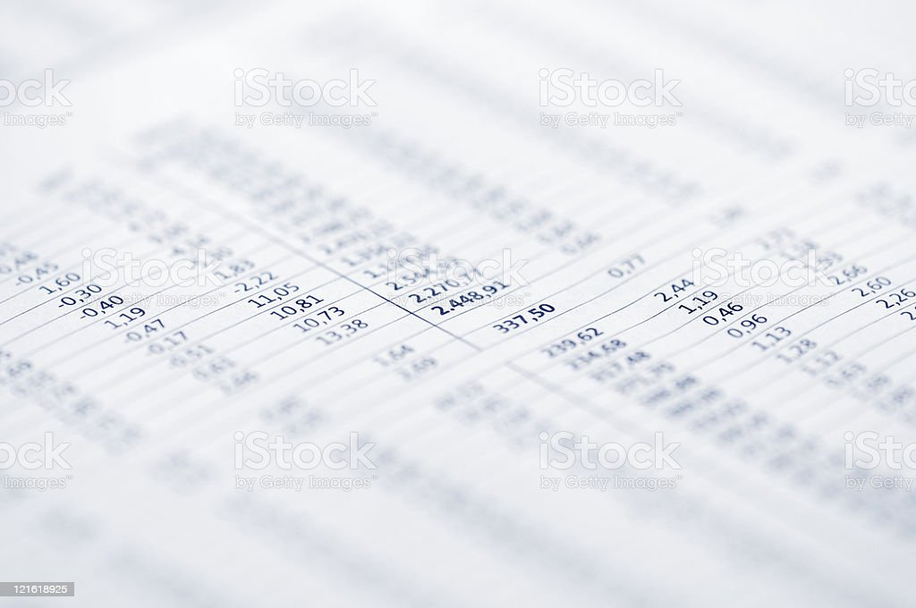 Page of stock market prices stock photo