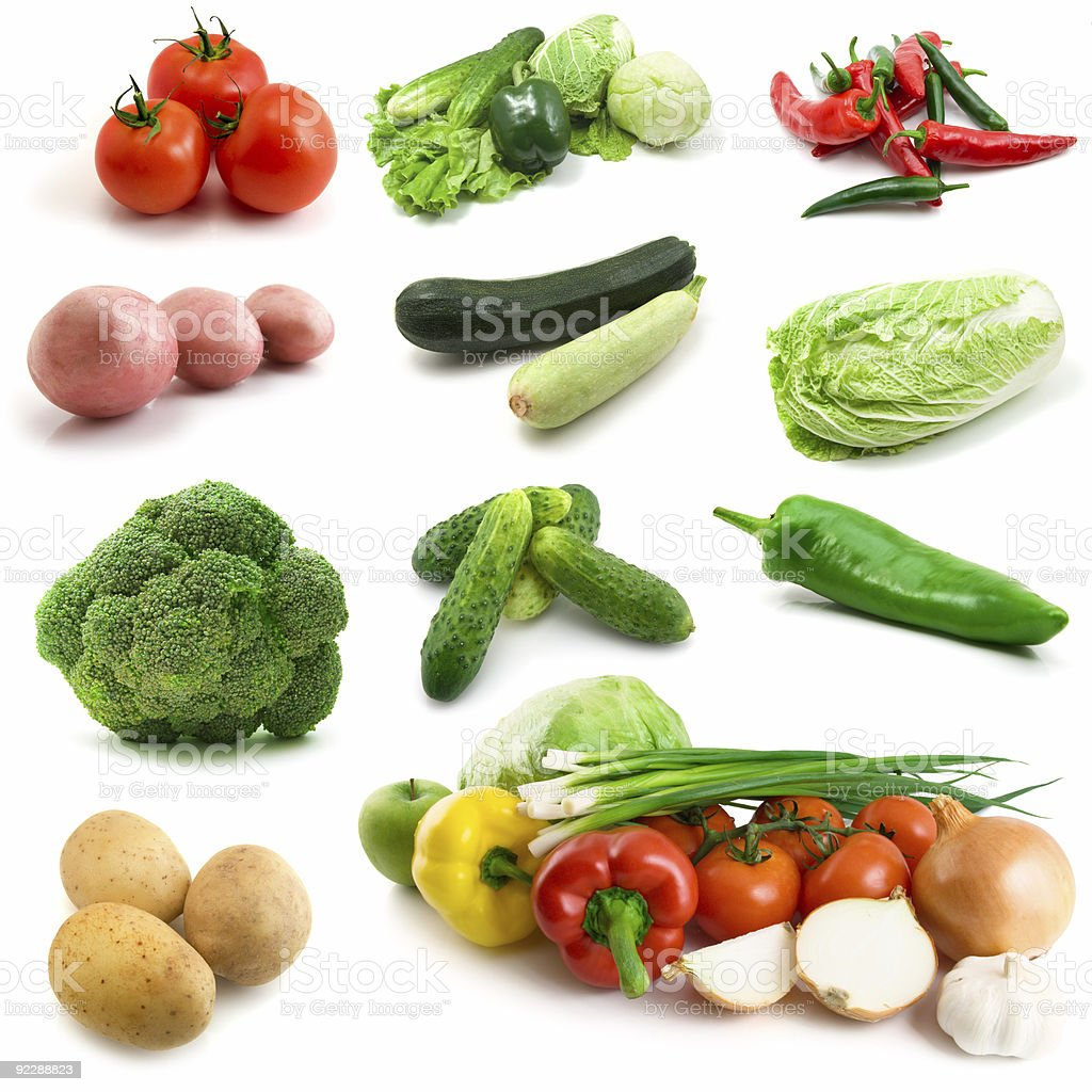 page of vegetables isolated on the white royalty-free stock photo