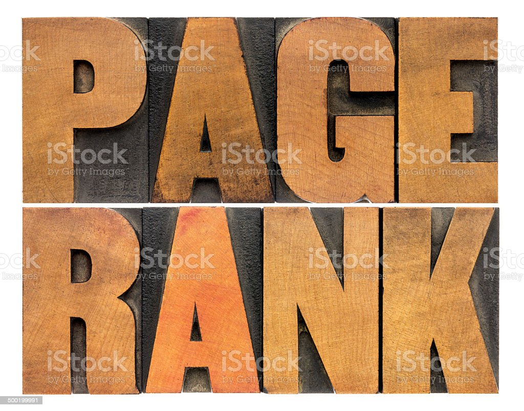 page rank word abstract stock photo