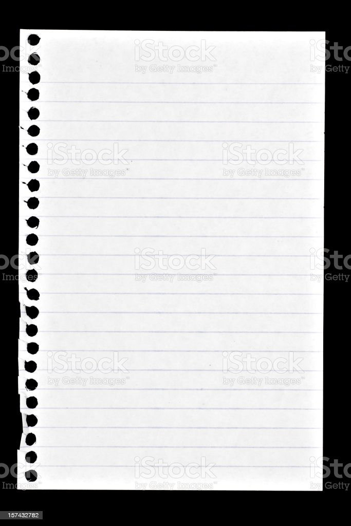 page torn from spiral note book royalty-free stock photo