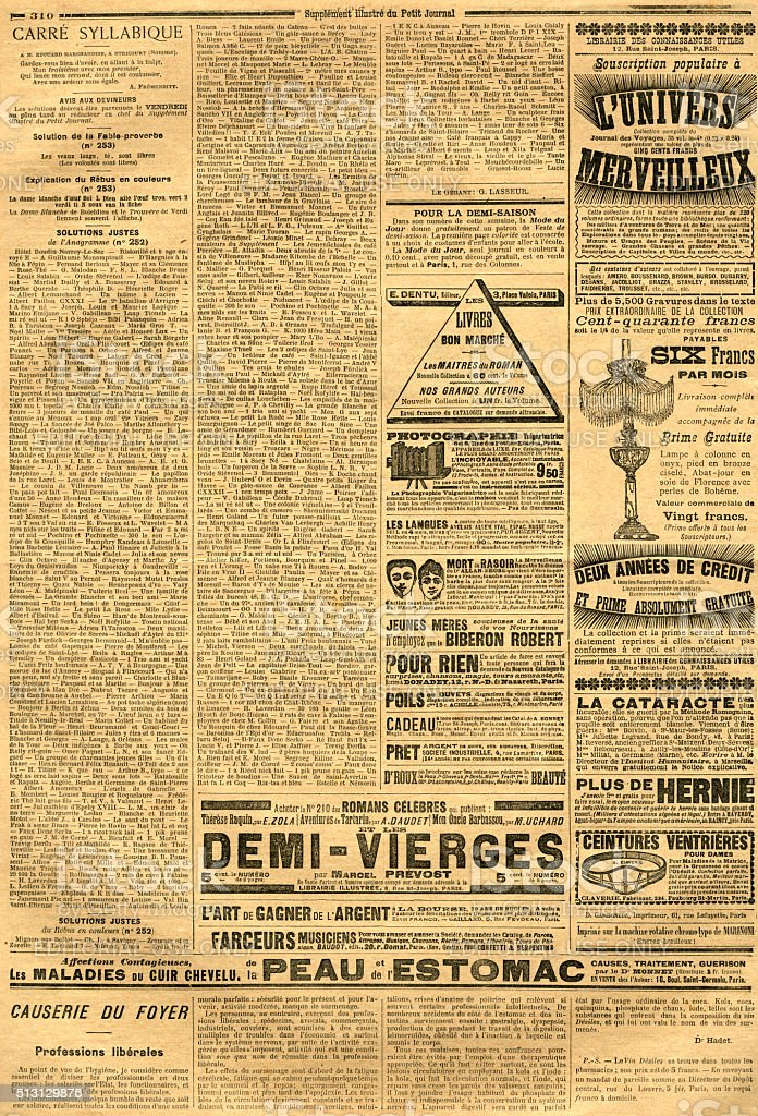 Page with advertisements from a French journal stock photo