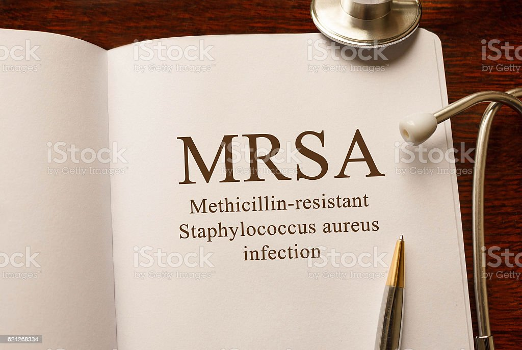 Page with MRSA (Methicillin-resistant Staphylococcus aureus infection) stock photo
