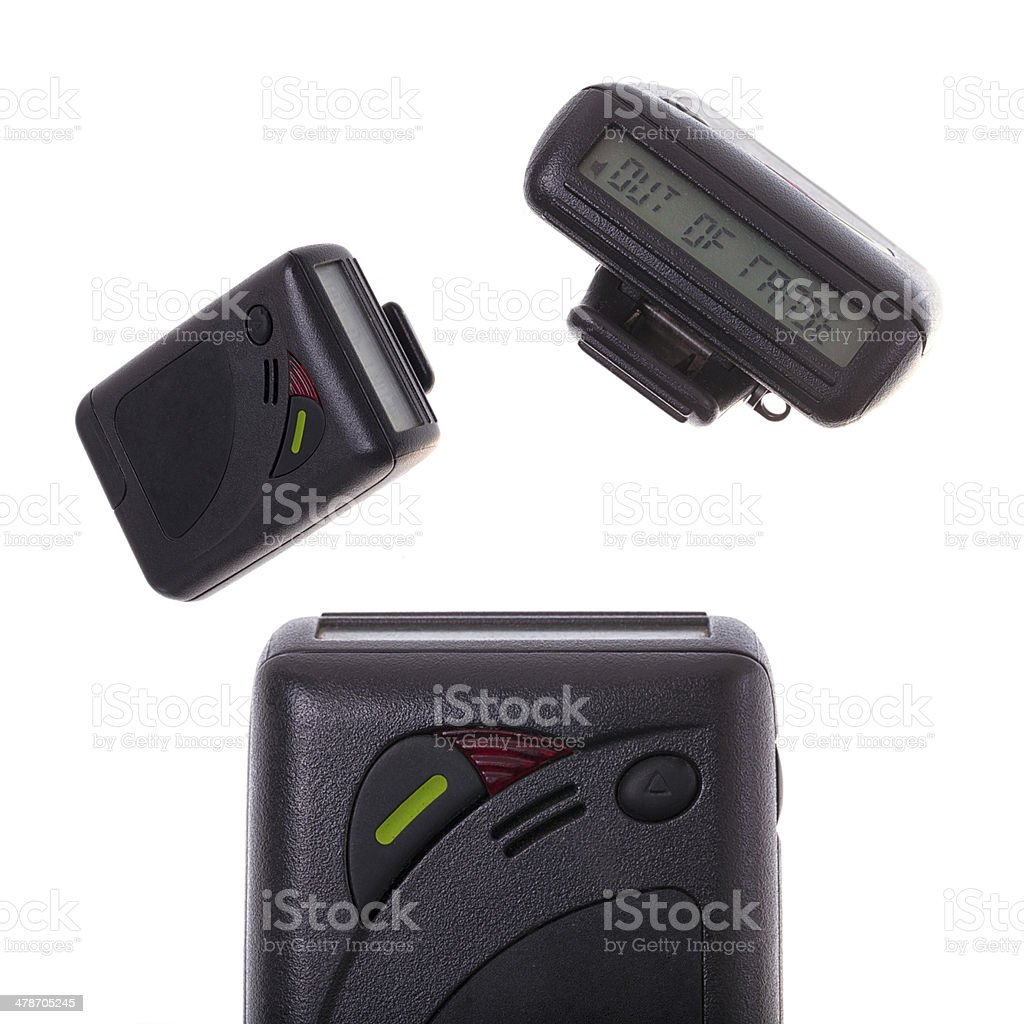 Pager on white background stock photo