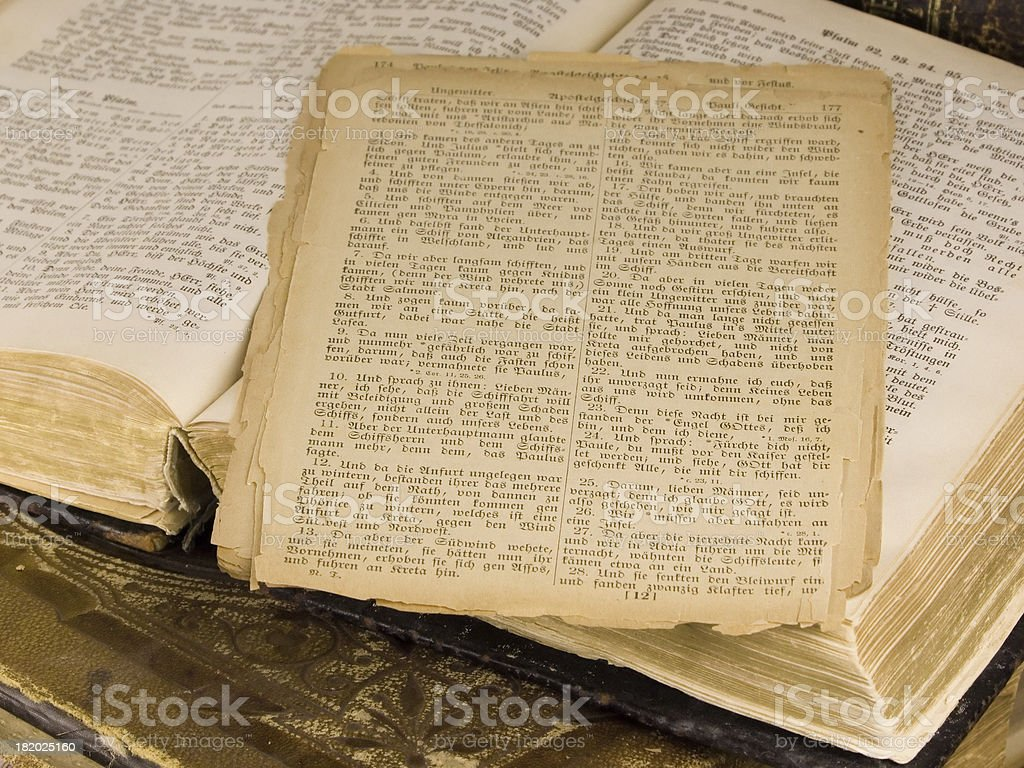 Pages of Ancient German Scripture stock photo