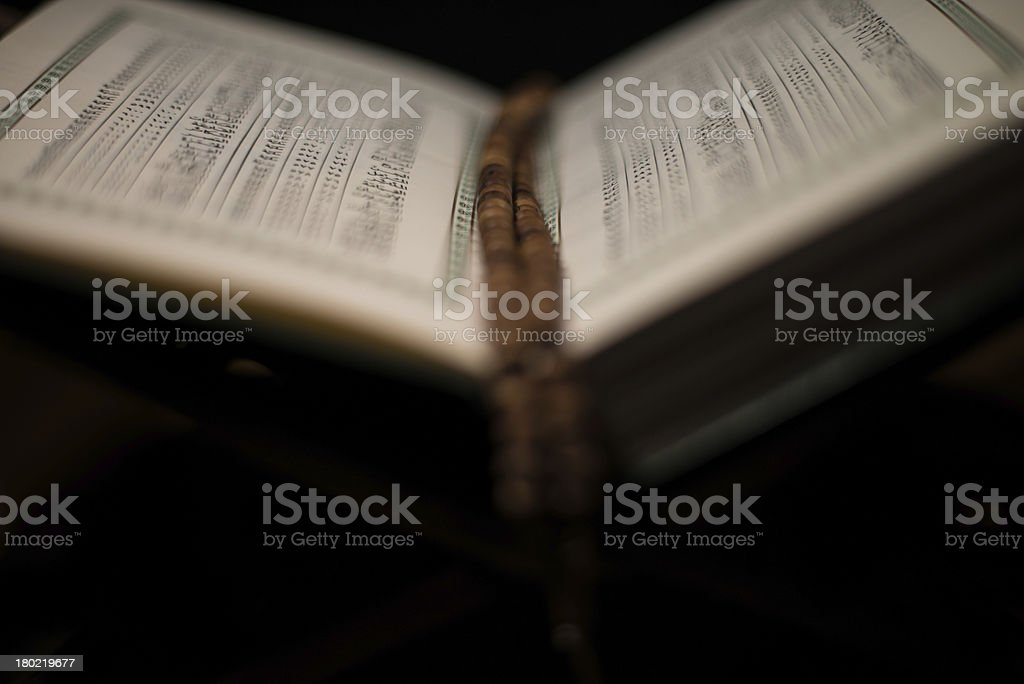 pages of holy koran and rosary at the book royalty-free stock photo