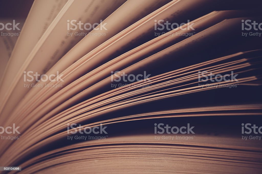 Pages of old book close up stock photo