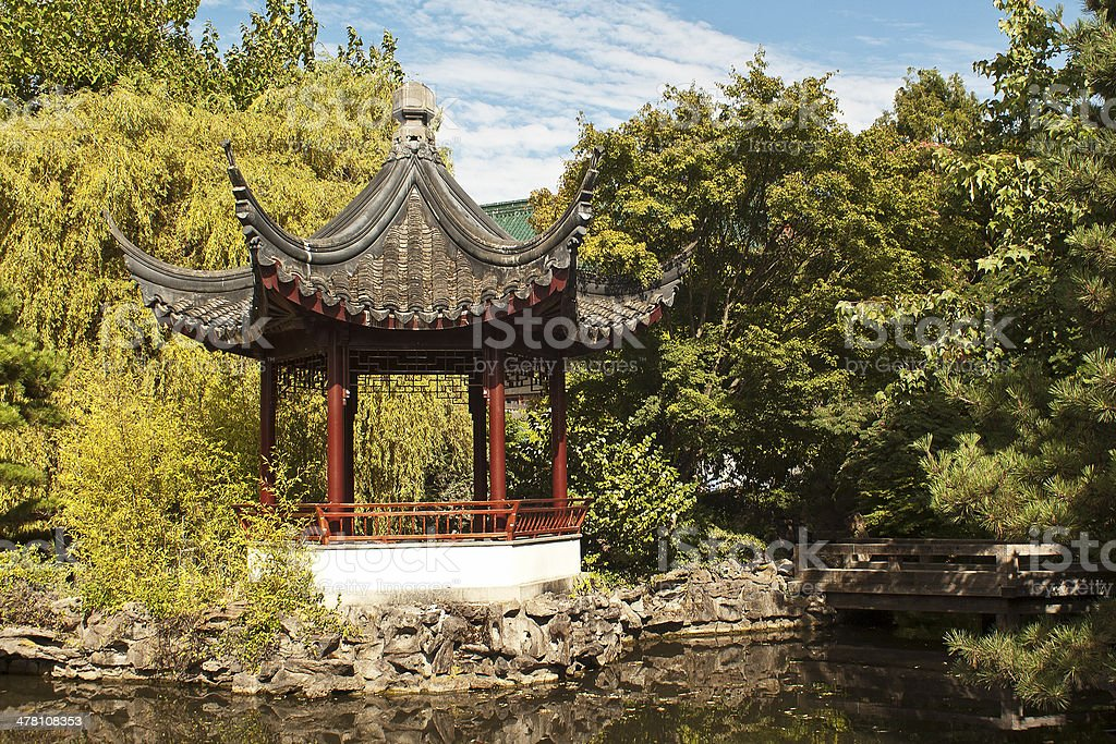 Pagoda and a Pond stock photo