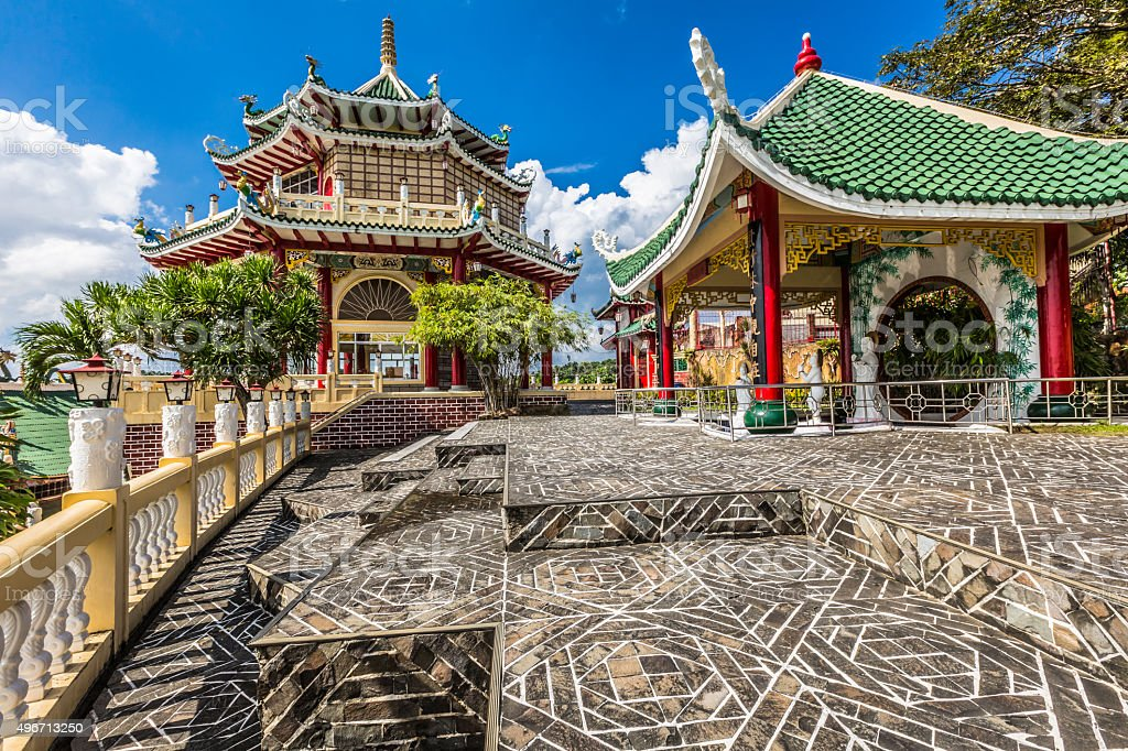 Pagoda and dragon sculpture of the Taoist Temple in Cebu stock photo