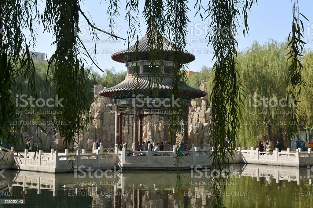 Pagoda and lake in Gao Temple complex, Zhongwei stock photo