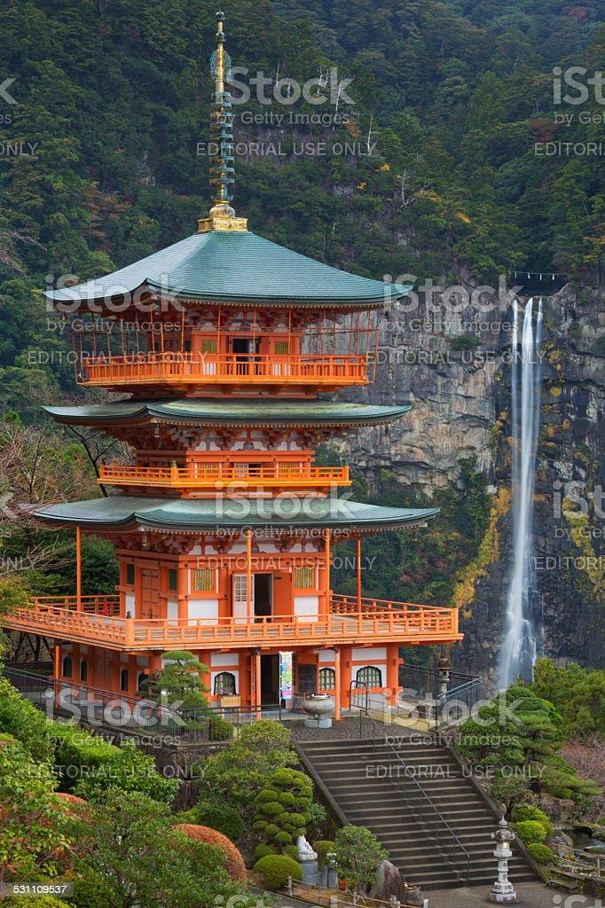 Pagoda and Nachi Falls in the Wakayama Prefecture, Japan stock photo