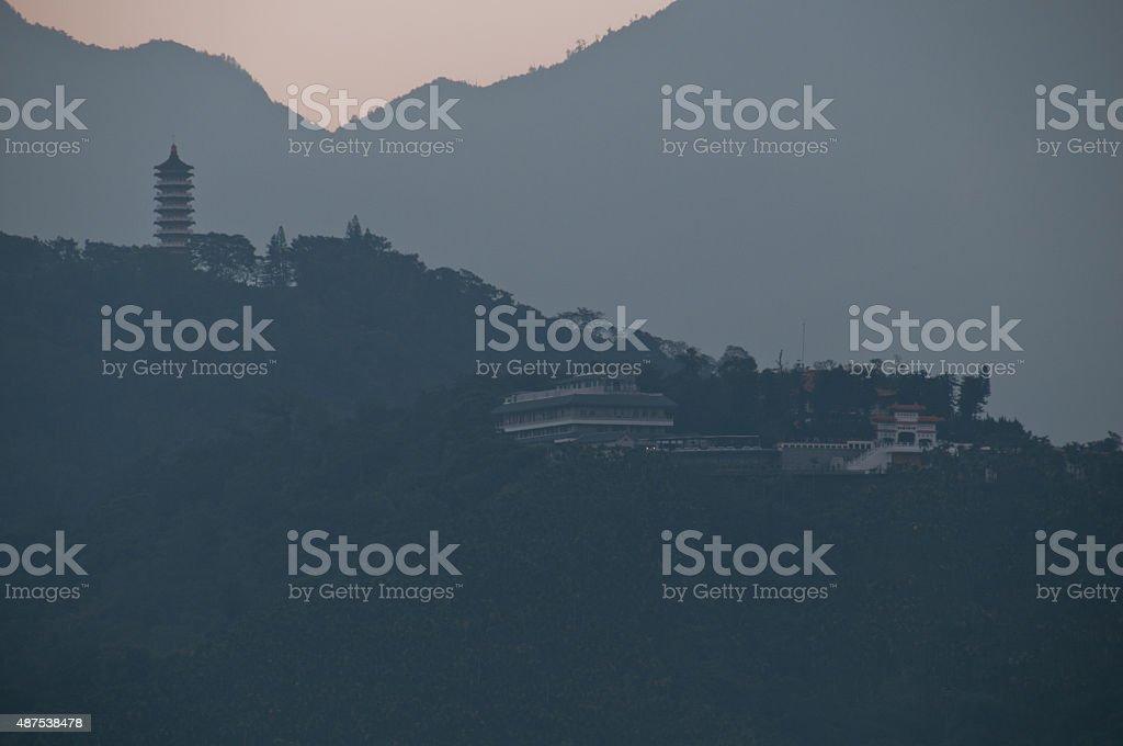 Pagoda and Wenwu temple in Sun Moon Lake Taiwan stock photo