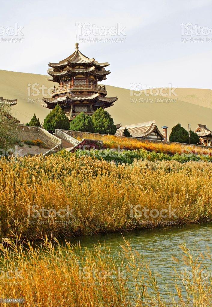 Pagoda at Crescent Lake stock photo