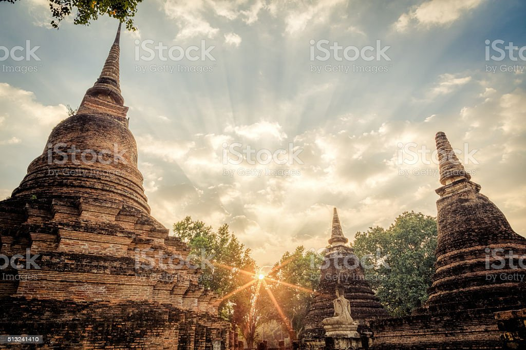 Pagoda at Sukhothai historical park stock photo