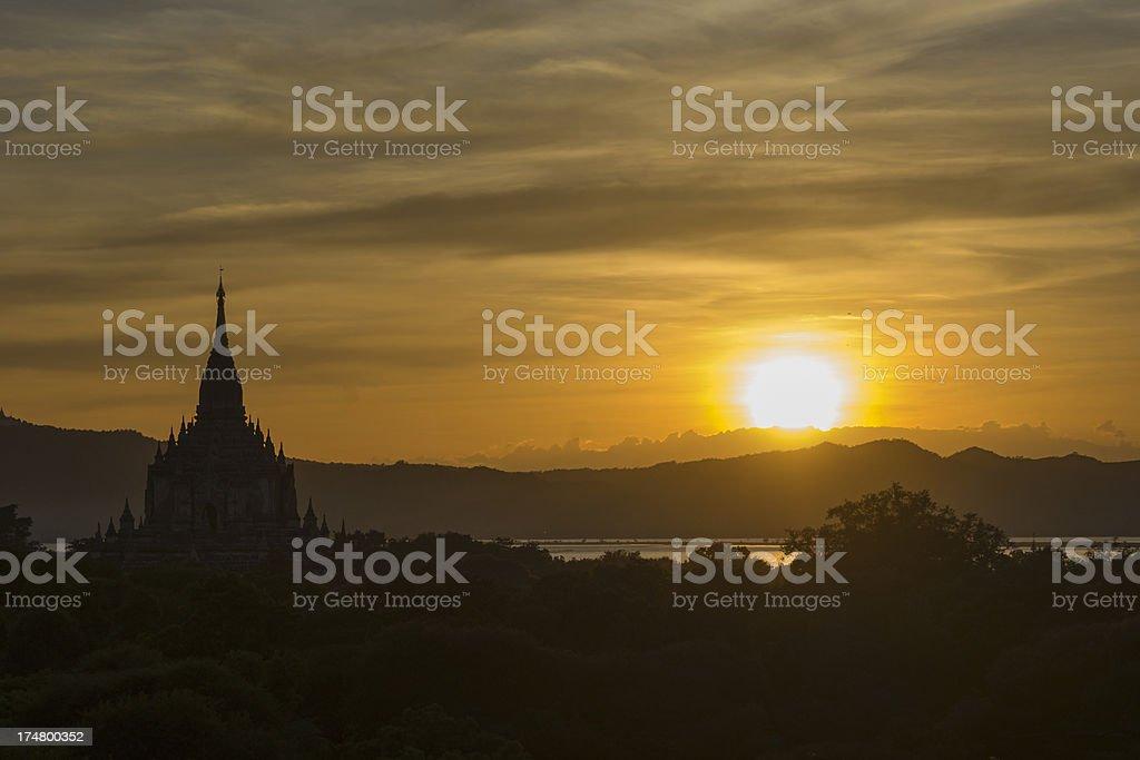 Pagoda at sunset, Bagan, Myanmar royalty-free stock photo