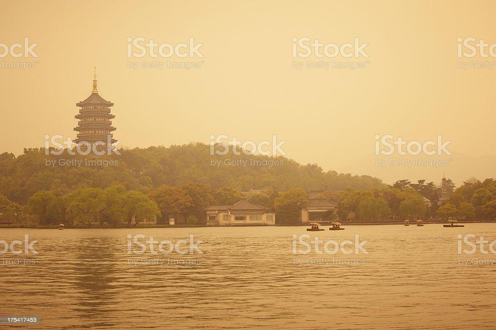 Pagoda at XiHu Lake stock photo