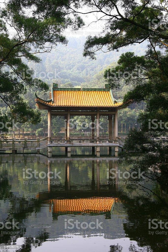 Pagoda by the lake stock photo