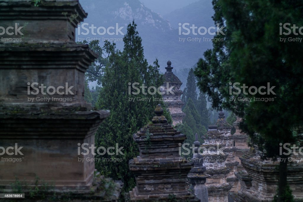 Pagoda forest in Shaolin stock photo