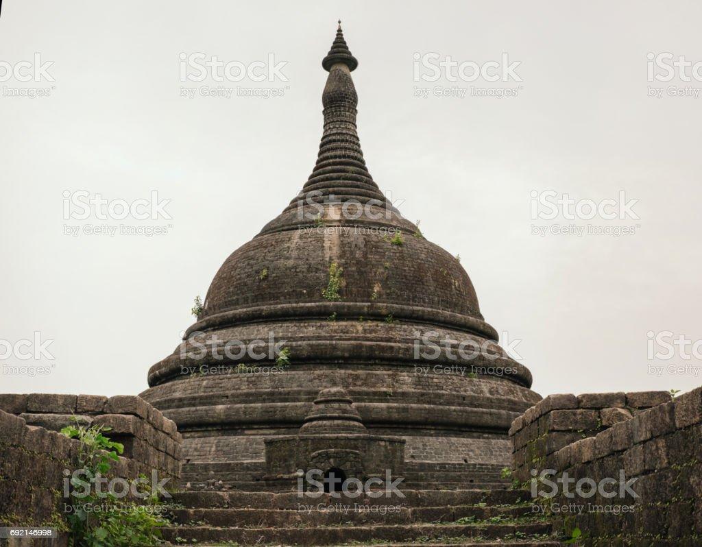 Pagoda in ancient ruins temple in Mrauk-U city stock photo