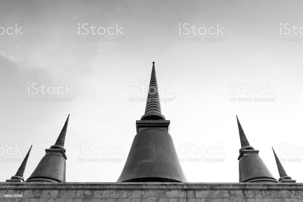 Pagoda in grand palace,black and white photography. stock photo