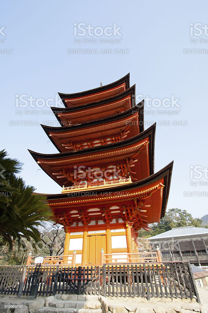 Pagoda in Miyajima, Japan stock photo
