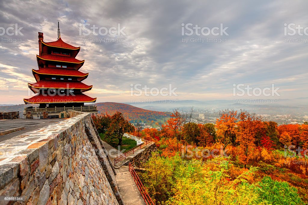 Pagoda in Reading Pennsylvania stock photo