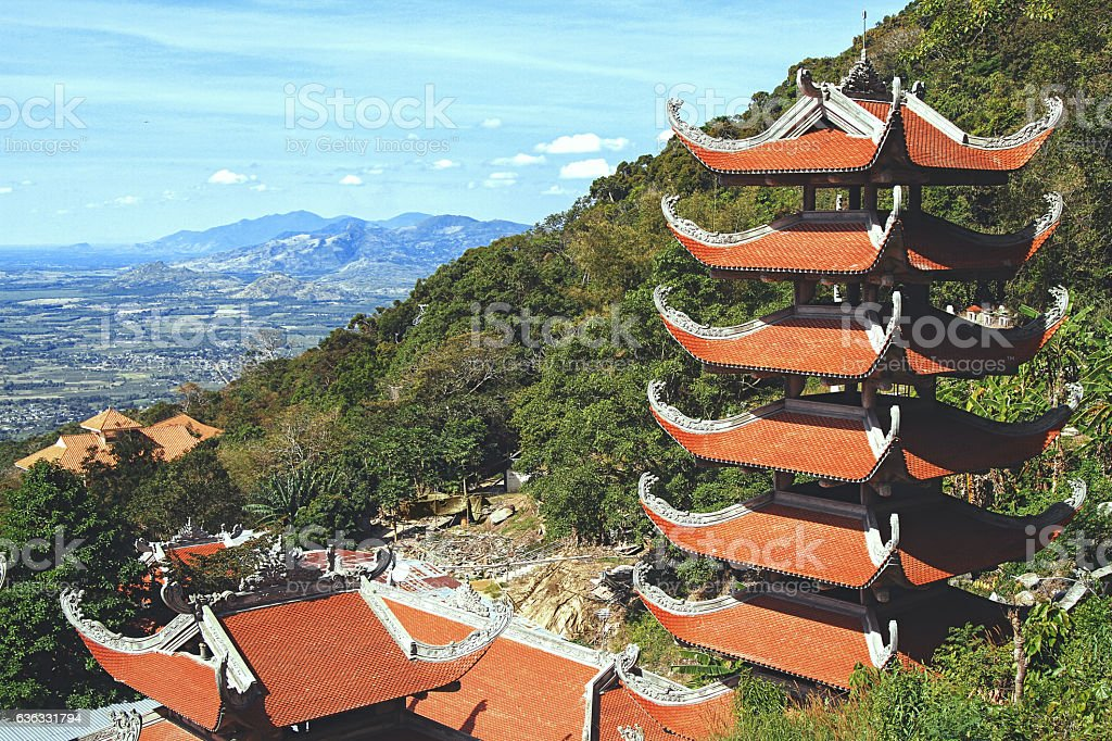 Pagoda in Ta Cu Vietnam. stock photo