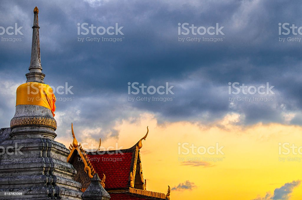 pagoda in Thailand on sunshine hdr stock photo