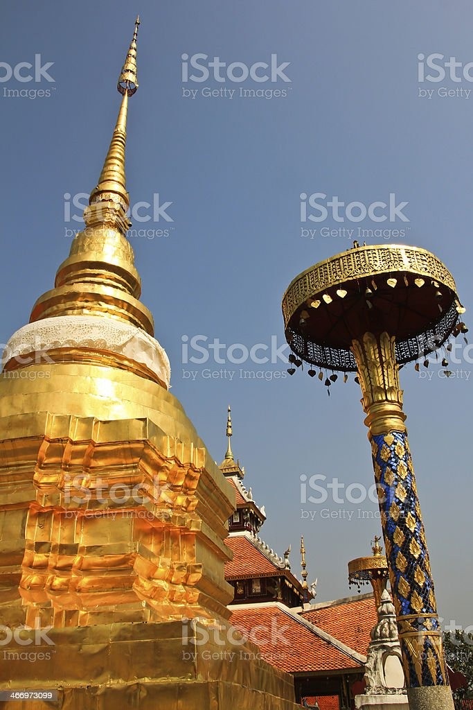Pagoda in Wat Pong Sanook at Lampang Thailand royalty-free stock photo